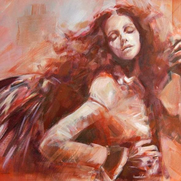 Engel, Mischtechnik auf Karton