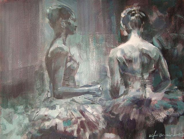Ballerinas 30a, Acryl, Gouache, Karton