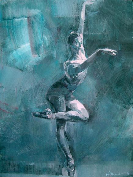 Ballett 52a, Acryl, Gouache, Karton