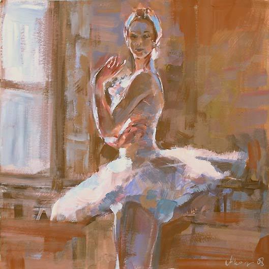 Balletttänzerin 118a, Acryl, Gouache, Karton