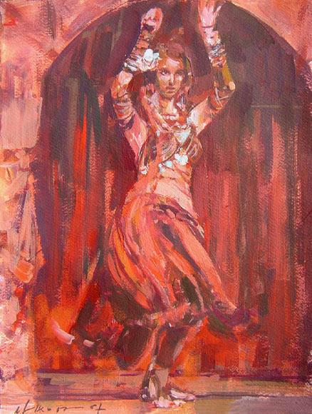 Balletttänzerin 38a, Acryl, Gouache, Karton