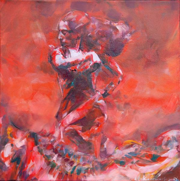 Rote Tänzerin 167a, Mischtechnik, Blendrahmen