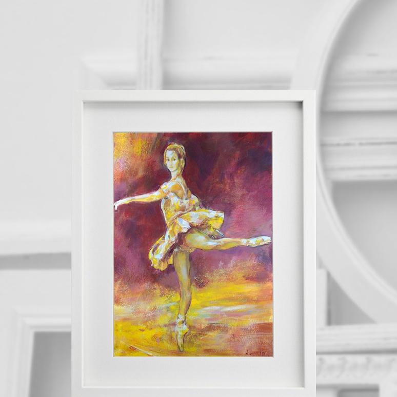 Balletttänzerin im Gelb 280416, im Interieur