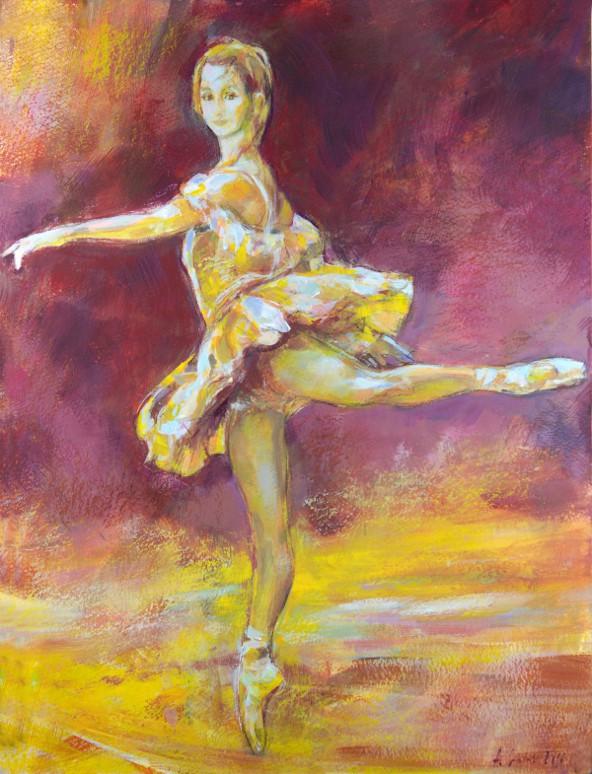Balletttänzerin im Gelb 280416, Mischtechnik, Karton 30x40 300g/m²