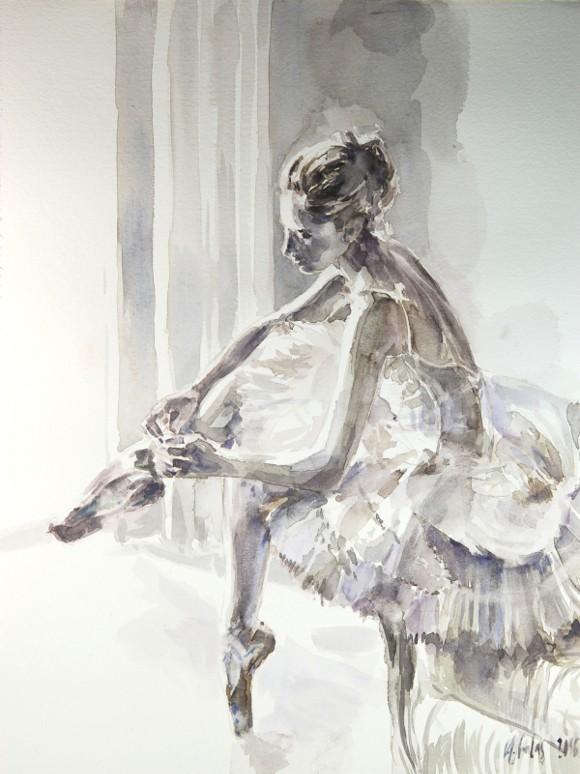 Balletttänzerin 220216, Aquarell, Karton 30x40 300g/m²