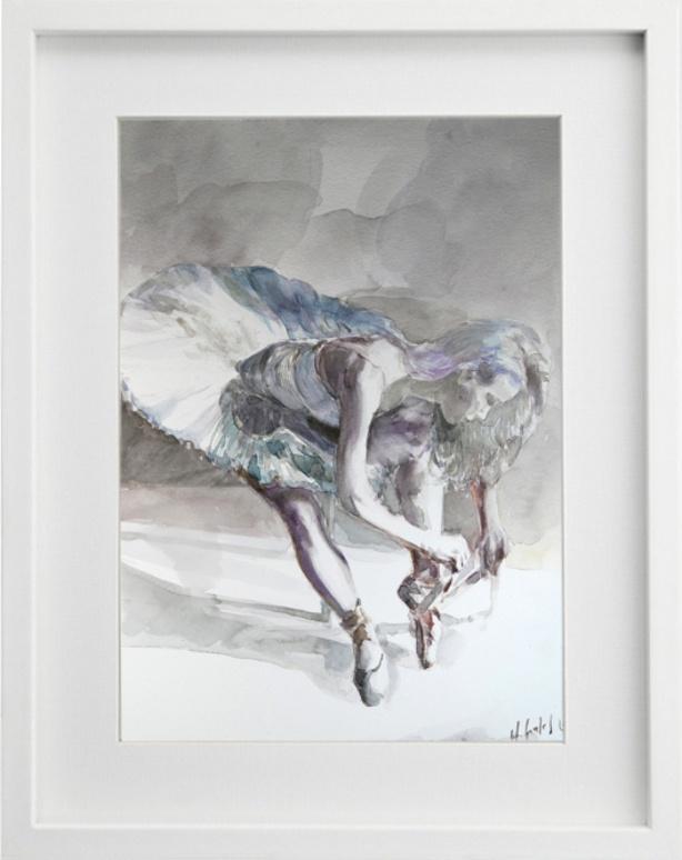 Sitzende Balletttänzerin 030216, im Rahmen