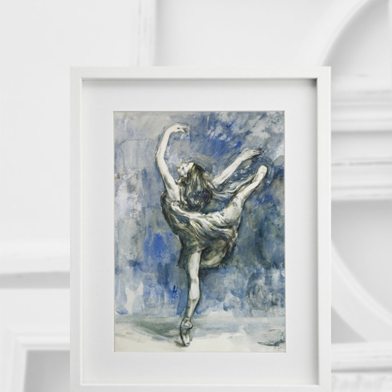 Tanzende Ballerina, Mischtechnik auf Karton